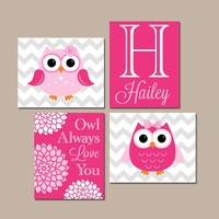 Girl OWL Wall Art, Owl Baby Girl Nursery, Owl Always Love You, Girl Quote Bedroom Wall Decor, Owl Theme Decor, CANVAS or Print, Set of 4
