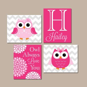 Girl OWL Wall Art, Owl Baby Girl Nursery, Owl Always Love You, Girl Quote Bedroom Pictures, Owl Theme Decor, CANVAS or Print, Set of 4