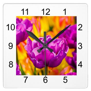 Tulips Enchanting Violet Square Wall Clock