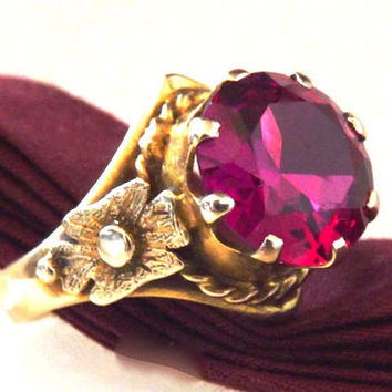 Victorian 14K Pink Spinel 6.50 Carat Gemstone Ring