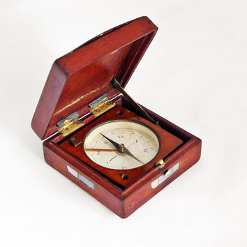 Vintage French Compass in a Wooden Case