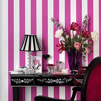 Self adhesive vinyl temporary removable wallpaper, wall decal -Vertical  Candy stripe Wall cover - 067