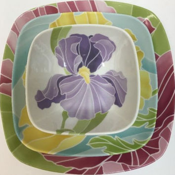 222 Fifth Pts Spring Kiss Square Large Multi-Motif Flower Floral 3pc. Dinnerware