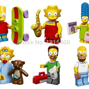 The Simpsons Anime Fiugres DIY Plastic Toy Dolls Kids Construction Toys Bricks Building Blocks Compatible With Lego 6pcs/lot