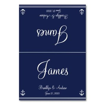 Blue Nautical Wedding Table Cards Seating Cards Table Cards