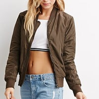 Ribbed-Trim Bomber Jacket