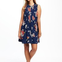 Printed Pintuck Swing Dress for Women | Old Navy