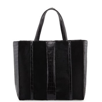 Crocodile & Calf Hair Shopper Tote Bag, Black - Nancy Gonzalez