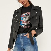 Missguided - Black Ultimate Faux Leather Biker Jacket