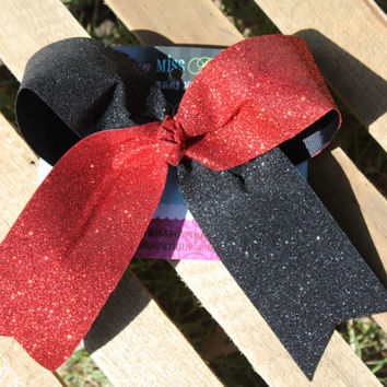 Glitzy Red and Black Glitter Cheer Bow, Red and Black Cheer Bow, Red and Black bow, Cheer Bow, Red Sparkle Bow, Bow, Red cheer bow