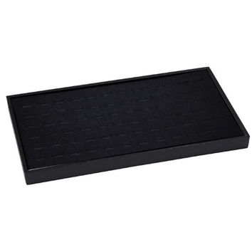 72 Slot Black Jewelry Travel Ring Insert Display Pad with Stackable Tray