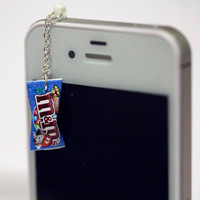 Kawaii M&M PRETZEL CANDY Iphone Earphone Plug/Dust Plug - Cellphone Headphone Handmade Decorations