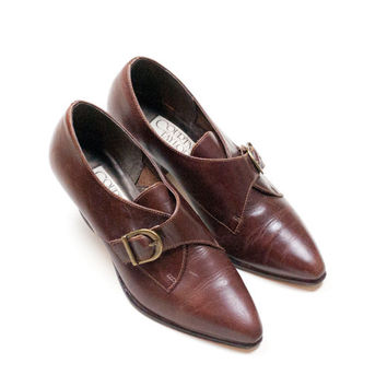 Brown Leather Women's Pointed Monk Strap Oxfords with Cuban Heel // Size 6M