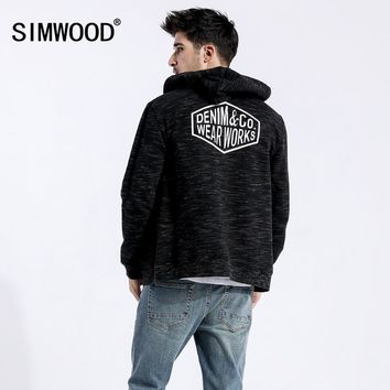 SIMWOOD 2018 Autumn Winter New Zip Up Hoodies Men Streetwear Heathered Fashion Letter Hip Hop Sporty Plus Sweatshirts 180436