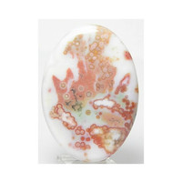 Ocean Jasper White with Orange Pink Abstract Design and Orbs Large Oval Cabochon