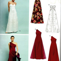 Simplicity New Look Sewing Pattern Formal Gown Wedding Dress Bridesmaid Off Shoulder Strapless Empire Waist Fit Flare Skirt Uncut Plus Size