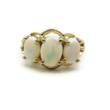 Opal Ring - 14k Gold - Three Stone Opal Engagement Ring October Birthstone Jewelry