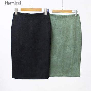 Hermicci Women Solid Suede Skirts Autumn Winter Female High Waist Pencil Bodycon Skirt Vintage Split Thick Stretchy Skirts