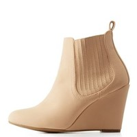 Beige Single Sole Wedge Chelsea Booties by Charlotte Russe