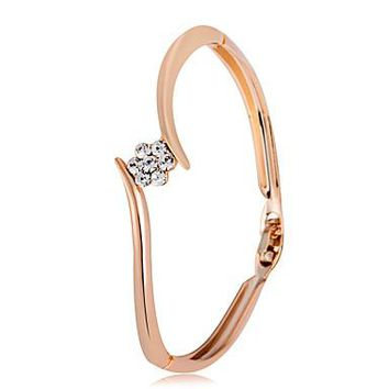 Women's Bangles Cubic Zirconia Classic Fashion Rose Gold Zircon Flower Jewelry Party Formal Costume Jewelry Gold