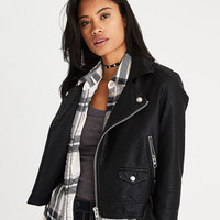 AEO Faux-Leather Moto Jacket, True Black