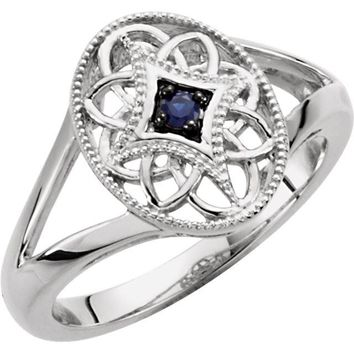 Sterling Silver Genuine Blue Sapphire Filigree Ring