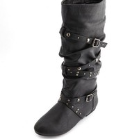 STUDDED STRAPPY FLAT BOOT