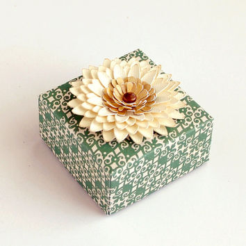 Elegant Handmade Paper FLOWER Decorated ORIGAMI Gift BOX