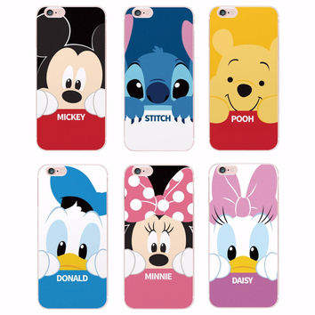 Cute Minnie Mickey Cartoon Donald Duck Stitch Daisy Characters Girl case For iPhone 6 6S 6Plus 4 4S 5 5S 5C 6S 7 7plus