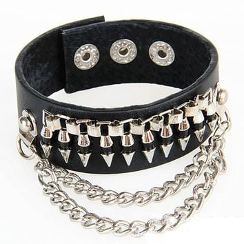 New Trendy Fashion Handmade Braided Punk Bullet Stud Buckle Wide Leather Bracelets Jewelry