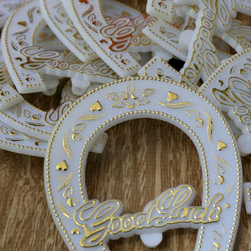 "Vintage Plastic ""Good Luck"" Horseshoe Party Favor/Craft Accessories - White/Gold - 1 Dozen"