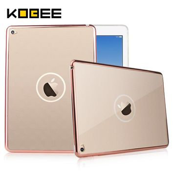 kobee luxury cover for apple ipad air 2 case tablet case clear transparent gold silicon soft tpu cover for ipad air2 for ipad 6  number 6