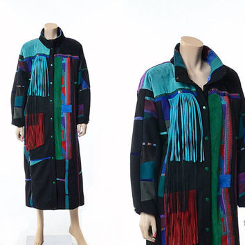Vintage 80s Wool & Suede Leather Southwestern Fringe Long Coat 1980s Multicolor Patchwork Indian Santa Fe Re Creations Maxi Duster Jacket