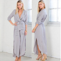 Women's Fashion Dress Sexy V-neck Coat One Piece Dress [4966221252]