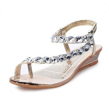 Summer shoes Summer Sandals Bling Rhinestone Flats Women Platform Wedges Sandals Fashion Flip Flops Comfortable Shoes Woman