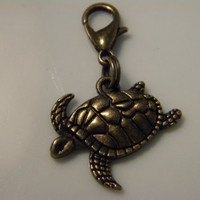 Sea Turtle Tortoise Antique Bronze zipper pull charm, purse charm or for backpack, handbag, luggage, cell phone.