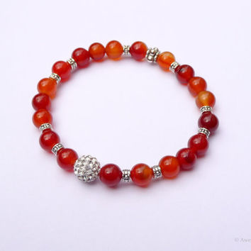Carnelian Gemstone Stretch Bracelet Silver Plated Pewter Crystal Pavé Accent Bead Stacking Bracelet