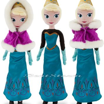 "Licensed cool NEW CHRISTMAS HOLIDAY FROZEN 21"" ELSA PLUSH DOLL W/ CAPE Disney Store EXCLUSIVE"