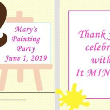 20 Painting Party Birthday Party Mint Favors Brown Hair