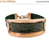 Christmas Sale Leather and Cooper Bar Bracelet, Black Leather and Copper Bar, Copper Cuff Bracelet, Gift for Her