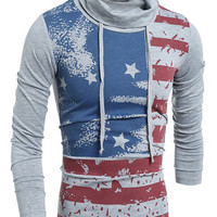 Drawstring Heaps Collar American Flag Print Long Sleeves T-Shirt