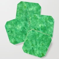 Bright green swirls doodles Coaster by savousepate