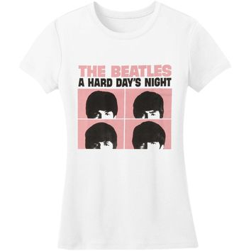Beatles  A Hard Day's Night Pink Squares Girls Jr White Rockabilia