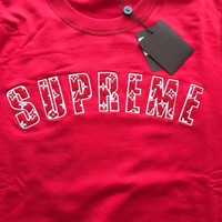 LOUIS VUITTON X SUPREME ARC LOGO MONOGRAM CREWNECK RED Size 3L Large