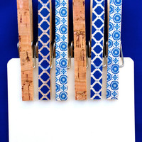 Blue floral and cork decorative clothespins
