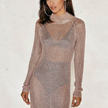 Melissa High Neck Metallic Knitted Midi Dress | Shop Clothes at Nasty Gal!