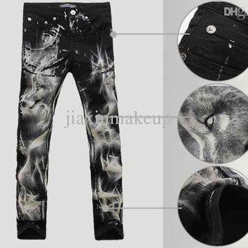 Men's Wolf Print Pattern Black Skinny Jeans Winter Warm Boot Cut Animal Painted Denim Jeans Calca Men Slim Thick Pants Trousers