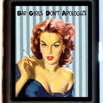 Bad Girl Pin-Up Cigarette Case Bad Girls Don't Apologize Pinup Pin Up Rockabilly Retro Humor ID Business Card Credit Card Holder Wallet