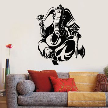 Vinyl Wall Decal Ganesha Hinduism Elephant God Hindu Religion Stickers Unique Gift (1881ig)