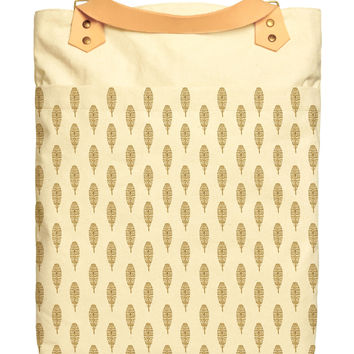 Gold Glitter Feather Print Cotton Canvas Leather Strap Laptop Backpack WAS_34